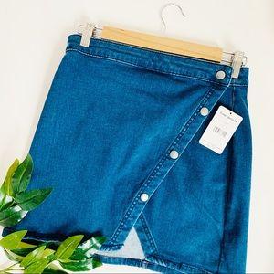 Free People Wrap Stretch Denim Skirt Snap …